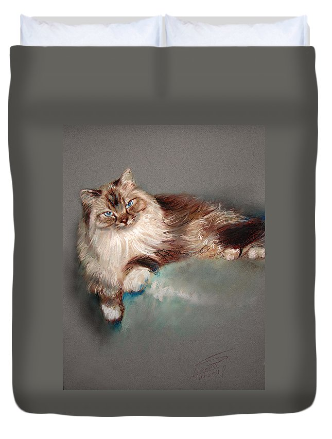 Cat Duvet Cover featuring the pastel Browny White by Ylli Haruni