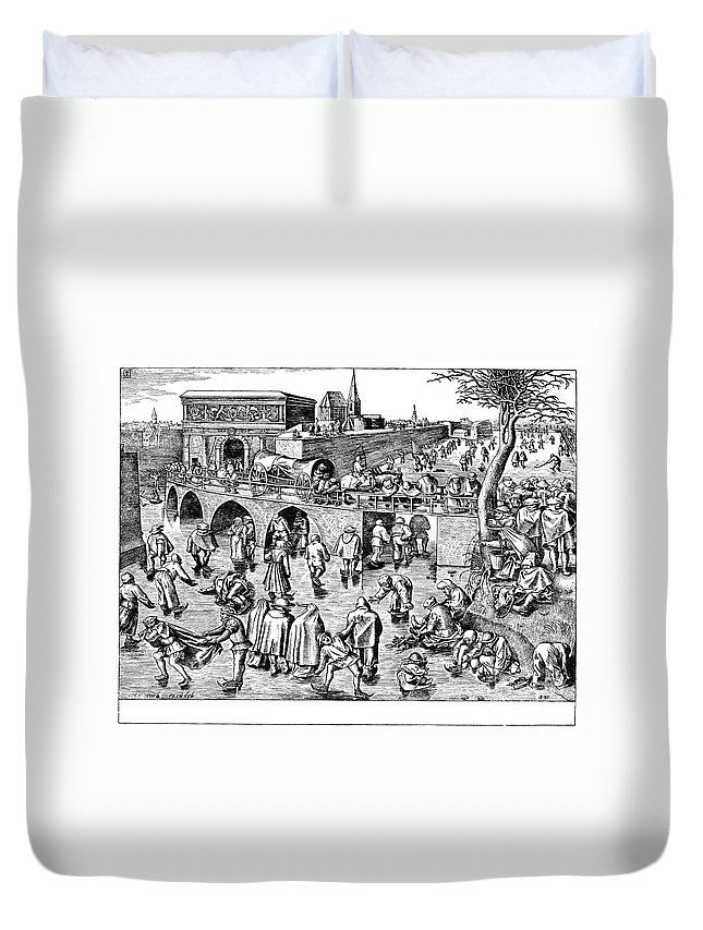 1558 Duvet Cover featuring the photograph Bruegel: Ice Skaters by Granger