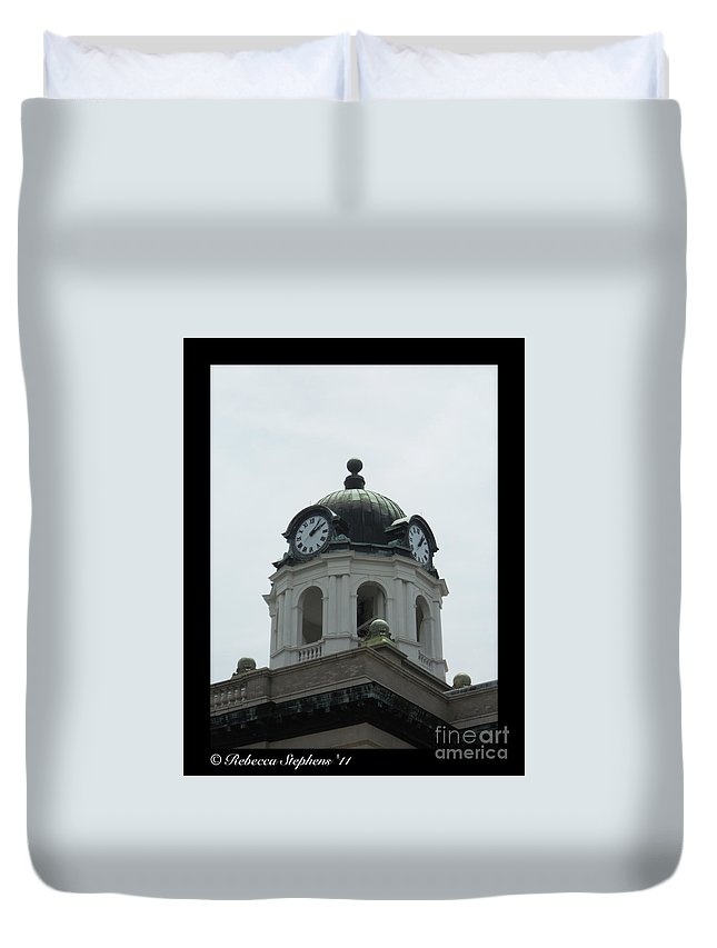 Brunswick Duvet Cover featuring the photograph Brunswick Court House by Rebecca Stephens