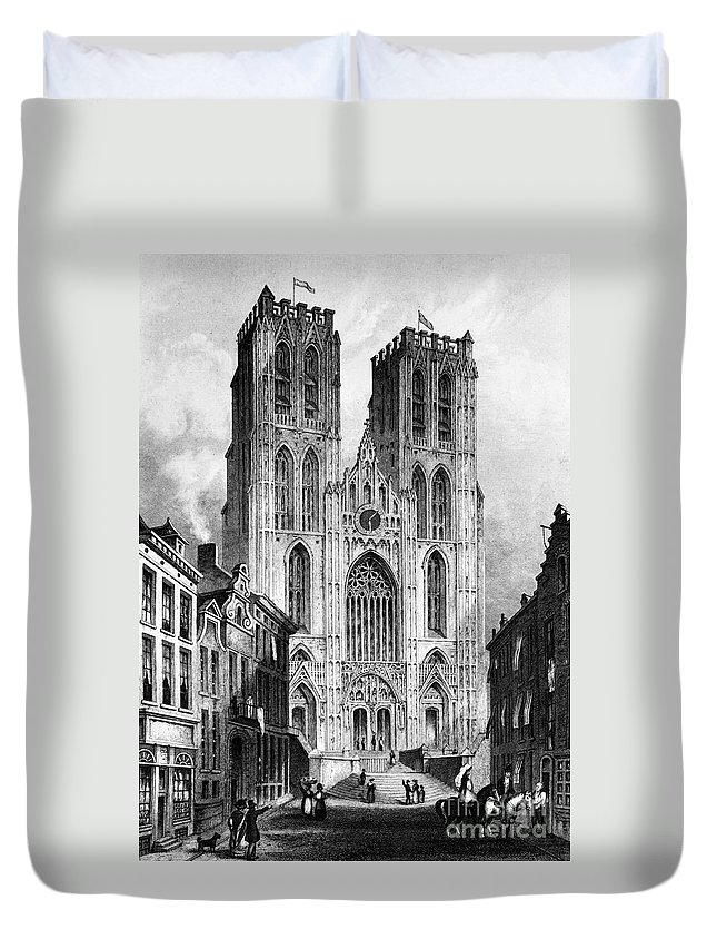 1838 Duvet Cover featuring the photograph Brussels: Cathedral, 1838 by Granger