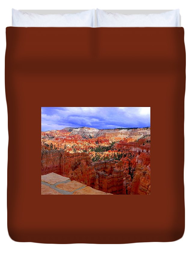 Mountains Duvet Cover featuring the photograph Bryce Canyon by Christie Starr Featherstone
