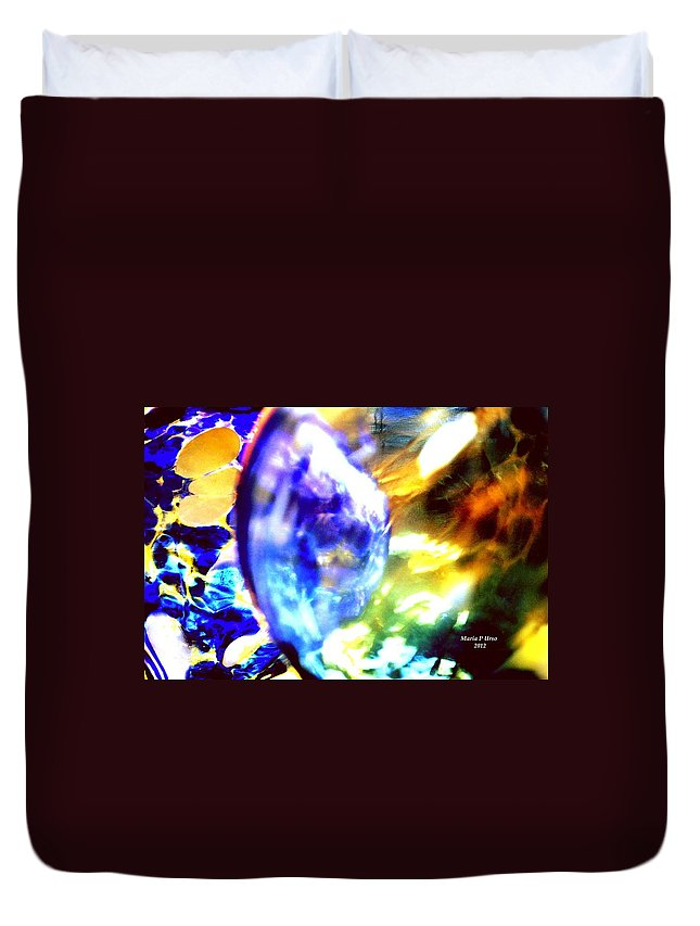 Bubble Duvet Cover featuring the digital art Bubble Abstract 001 by Maria Urso