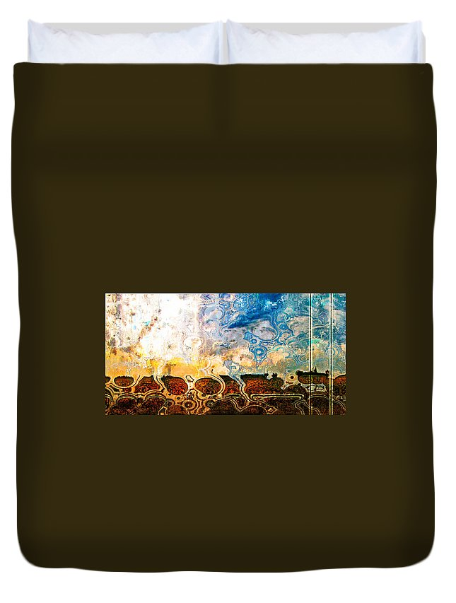 Abstract Duvet Cover featuring the photograph Bubble Landscape Abstract by Debbie Portwood