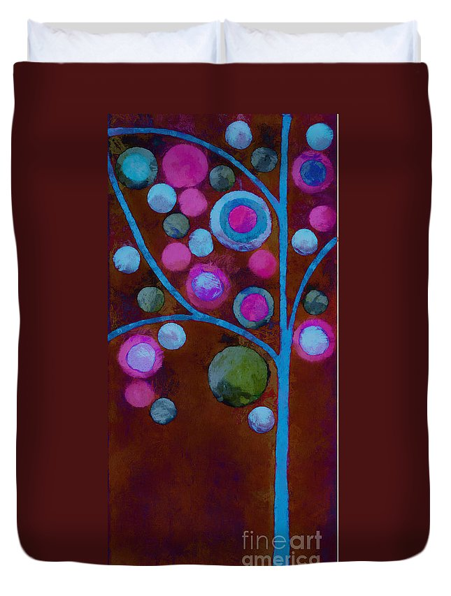 Tree Duvet Cover featuring the painting Bubble Tree - W02d - Left by Variance Collections
