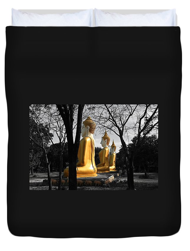 Buddhism Duvet Cover featuring the photograph Buddha In The Jungle by Adrian Evans