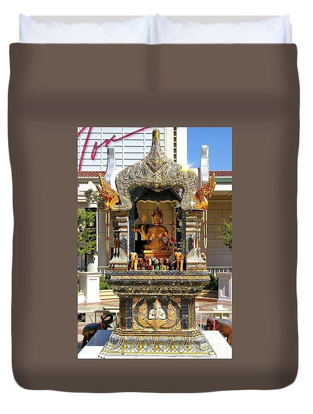 Buddha Statue Duvet Cover featuring the photograph Buddha Shrine by Mariola Bitner