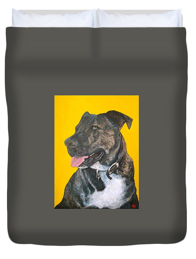 Dog Portrait Duvet Cover featuring the painting Buddy by Tom Roderick