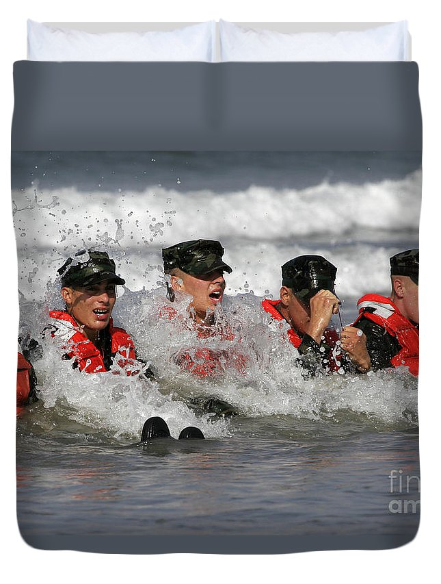 Special Forces Duvet Cover featuring the photograph Buds Students Participate In A Surf by Stocktrek Images