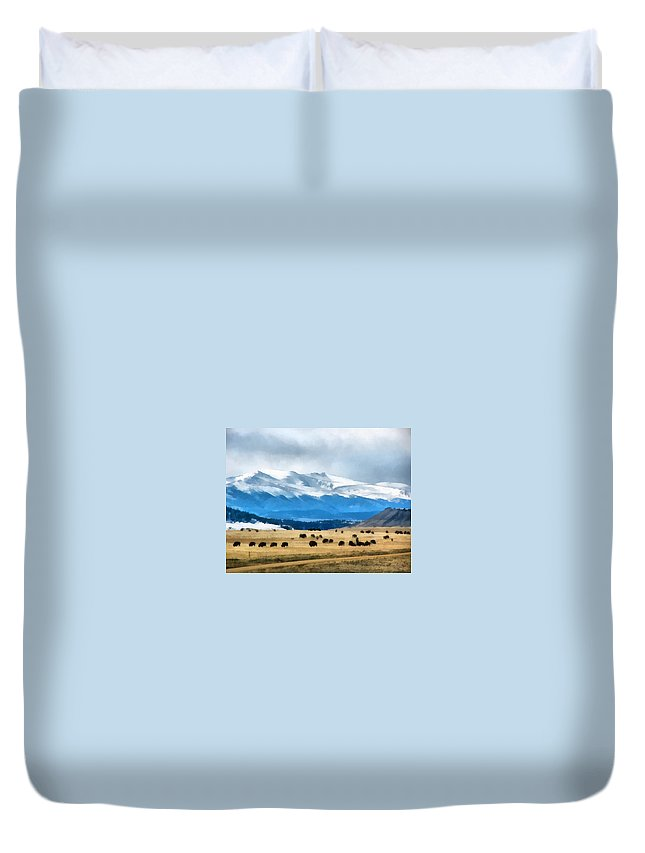 Animals Duvet Cover featuring the digital art Buffalo Herd Painterly by Ernie Echols