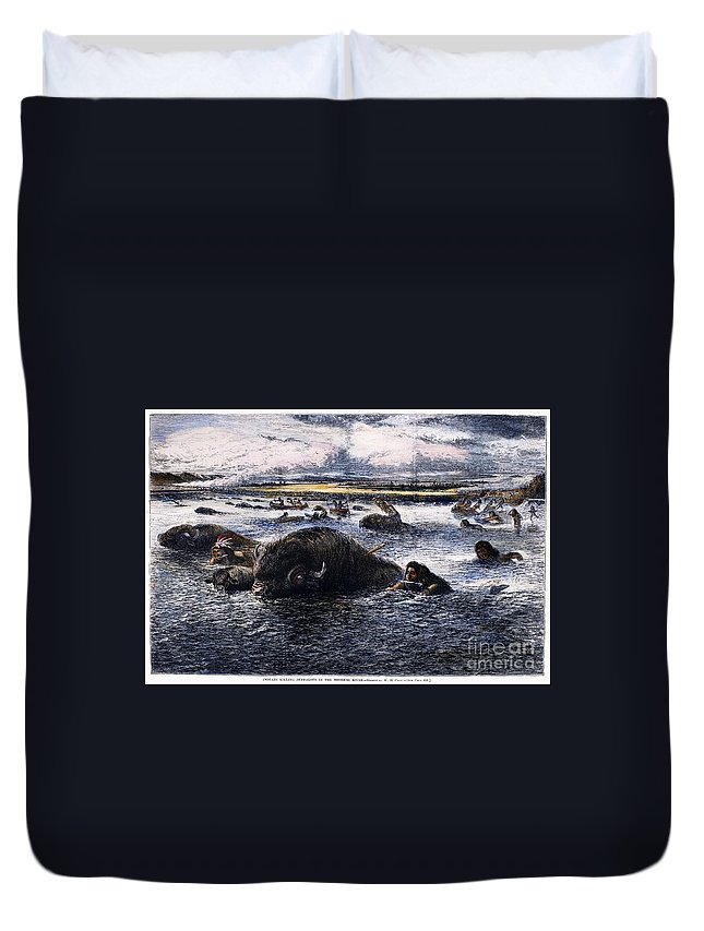 1874 Duvet Cover featuring the photograph Buffalo Hunt, 1874 by Granger