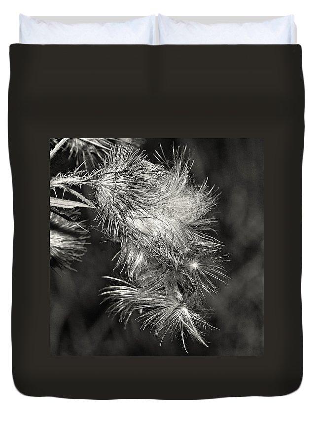 Flowers Duvet Cover featuring the photograph Bull Thistle Monochrome by Steve Harrington