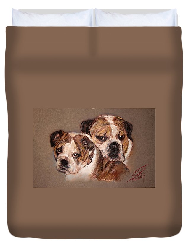 Bulldogs Duvet Cover featuring the pastel Bulldogs by Ylli Haruni