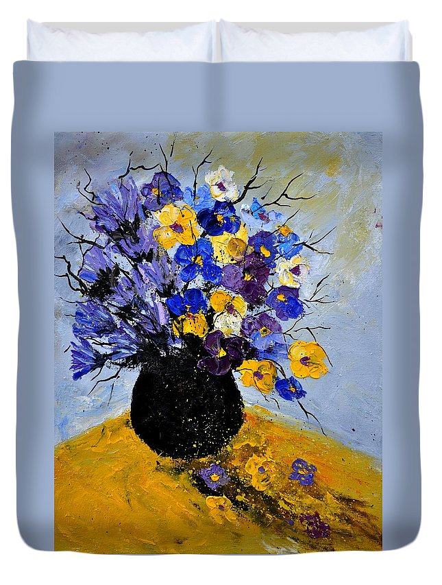 Flowers Duvet Cover featuring the painting Bunch 451111 by Pol Ledent