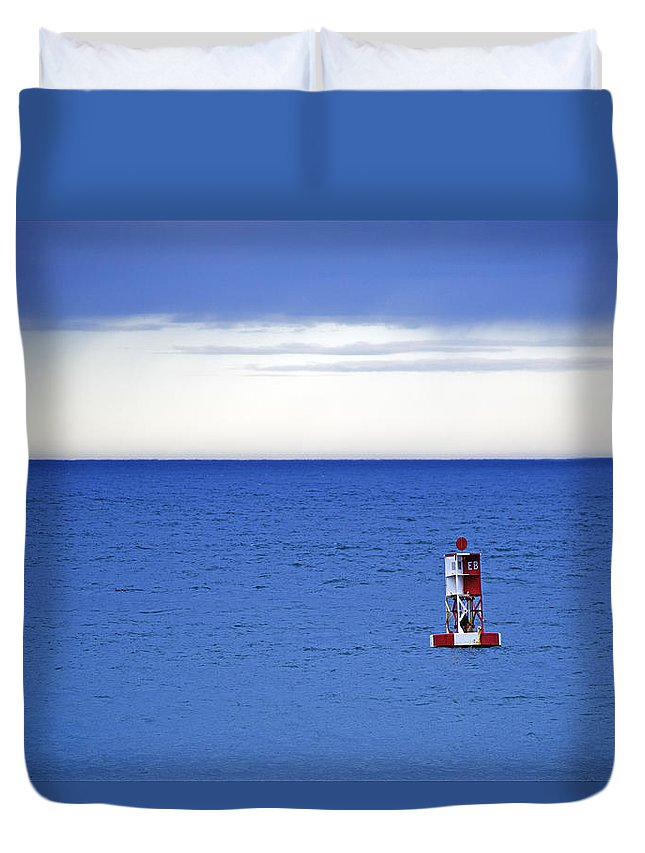 Bass Harbor Head Duvet Cover featuring the photograph Buoy Off Bass Harbor Head by Rick Berk