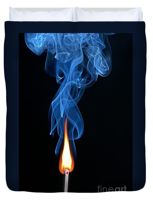Match Duvet Cover featuring the photograph Burning Match by Art Whitton