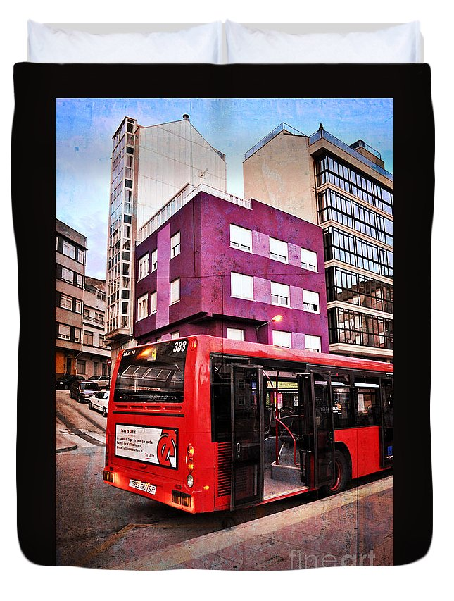 Bus Stop Duvet Cover featuring the photograph Bus Stop - La Coruna by Mary Machare