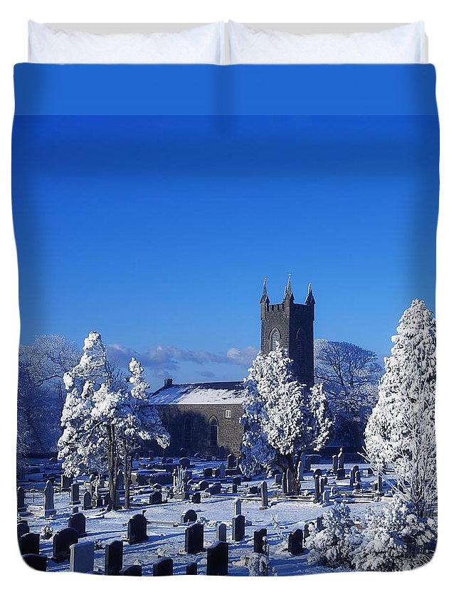 Bushmills Church Duvet Cover featuring the photograph Bushmills Church, County Antrim by The Irish Image Collection