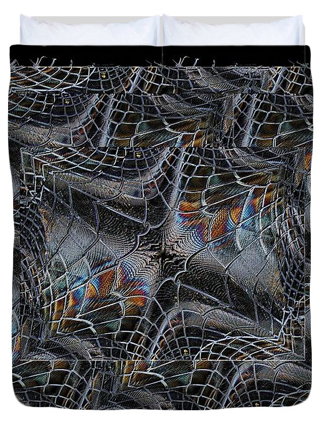 Fence Duvet Cover featuring the digital art Bustin Out by Tim Allen