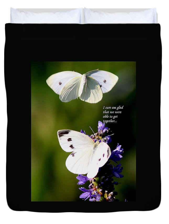 Cabbage White Butterfly Duvet Cover featuring the photograph Butterflies - Cabbage White - Enjoyed The Togetherness by Travis Truelove
