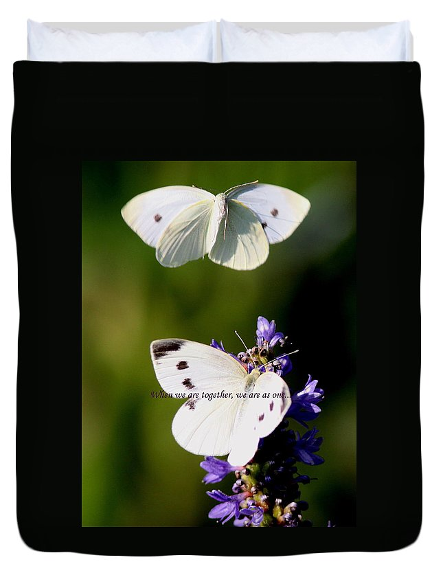 Cabbage White Duvet Cover featuring the photograph Butterfly - Cabbage White - As One by Travis Truelove