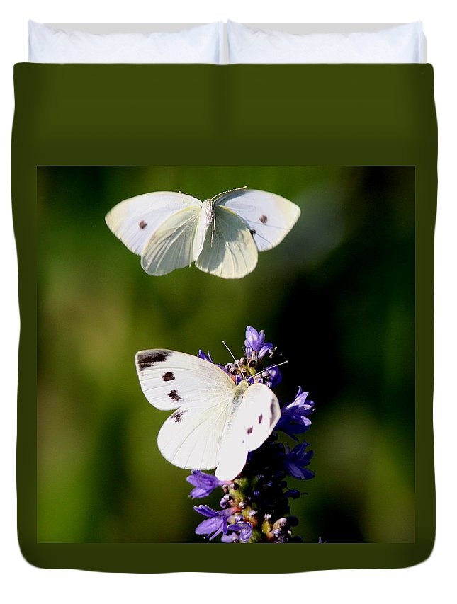 Yellow Cabbage Butterfly Duvet Cover featuring the photograph Butterfly - Visiting by Travis Truelove