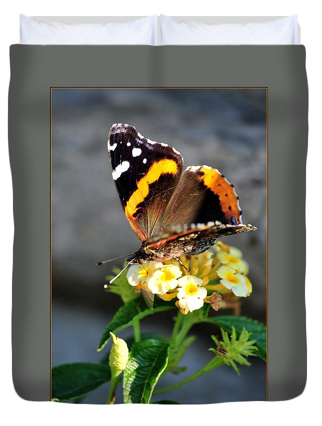 Duvet Cover featuring the photograph Butterfly Sipping Lantana Luscious Lemonade  by Michael Frank Jr