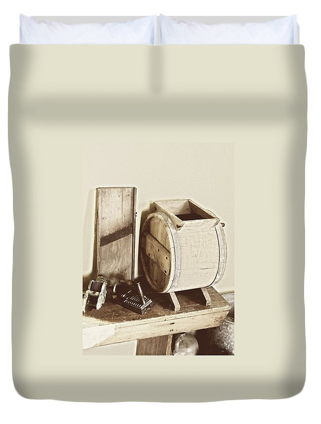 Farm Duvet Cover featuring the photograph Buttermilk Churn 3540 by Michael Peychich