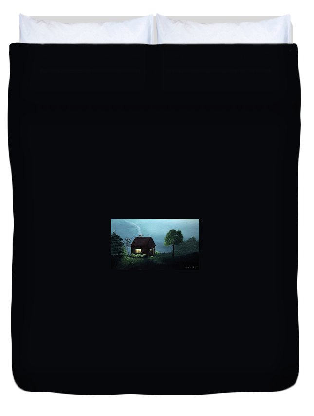 Cabin Duvet Cover featuring the painting Cabin In The Moonlight by Katie Slaby