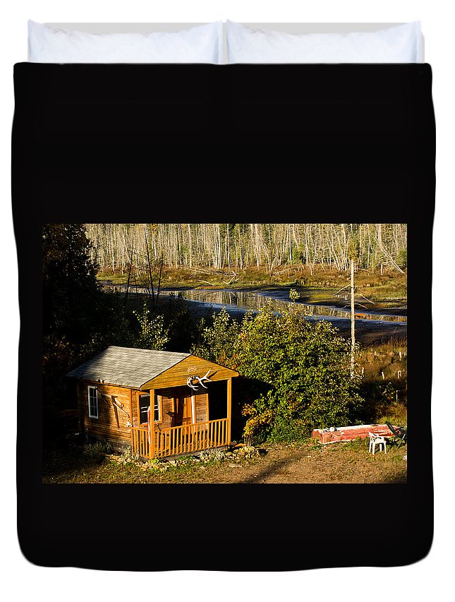 Cabin Duvet Cover featuring the photograph Cabin On The River by Cale Best