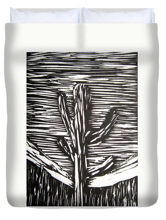 Cactus Duvet Cover featuring the relief Cactus by Marita McVeigh