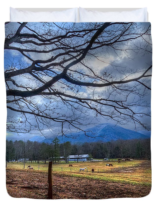 Appalachia Duvet Cover featuring the photograph Cades Cove Lane by Debra and Dave Vanderlaan
