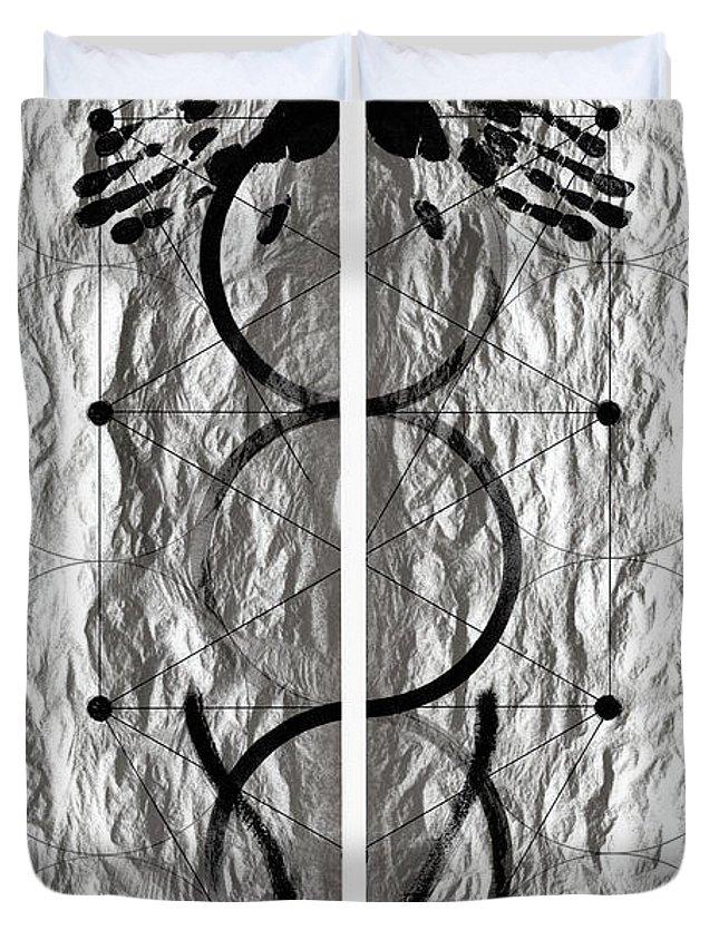 Lithograph Duvet Cover featuring the photograph Caduceus by David Kleinsasser