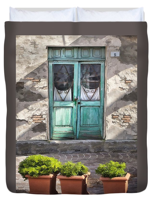 Italy Duvet Cover featuring the digital art Cafe Doors In Brisighella by Sharon Foster
