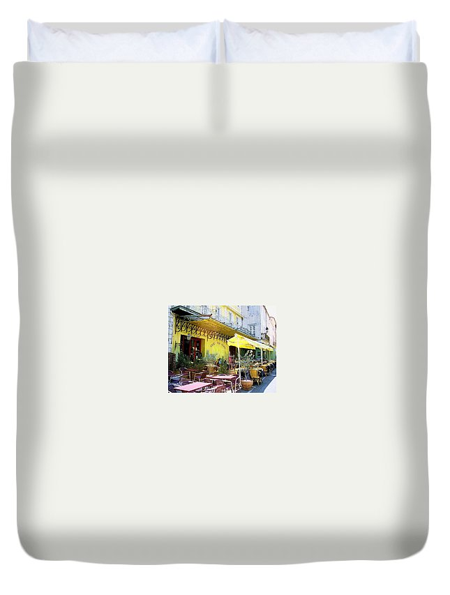 Cafe La Nuit Duvet Cover featuring the photograph Cafe La Nuit by Pat Purdy