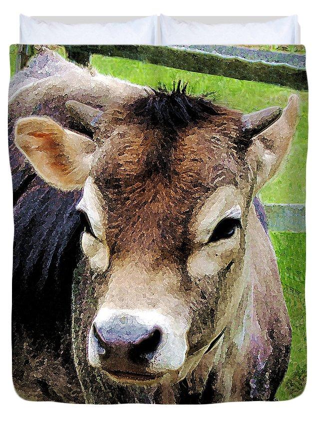 Rural Duvet Cover featuring the photograph Calf Closeup by Susan Savad