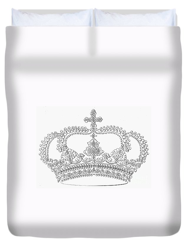 18th Century Duvet Cover featuring the photograph Calligraphy Crown by Granger
