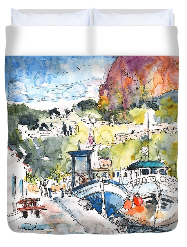 Travel Duvet Cover featuring the painting Calpe Harbour 05 by Miki De Goodaboom