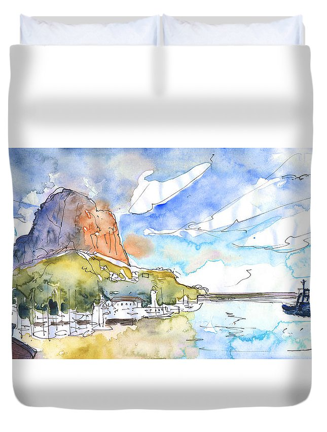 Travel Duvet Cover featuring the painting Calpe Harbour 06 by Miki De Goodaboom