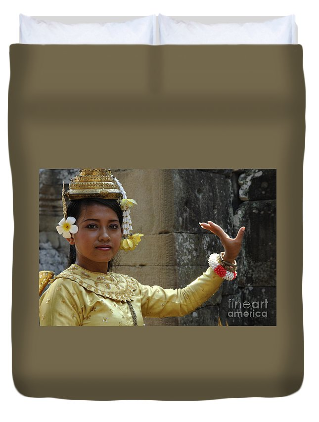 Cambodian Youth Duvet Cover featuring the photograph Cambodian Dancer by Bob Christopher