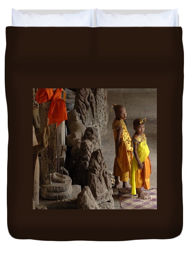 Cambodian Youth Duvet Cover featuring the photograph Cambodian Youths by Bob Christopher