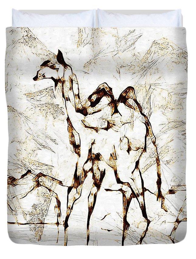 Painting Duvet Cover featuring the digital art Camel by Marek Lutek