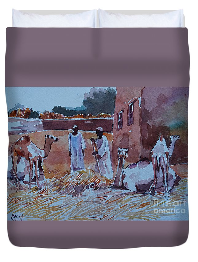 Camel Duvet Cover featuring the painting Camel by Mohamed Fadul