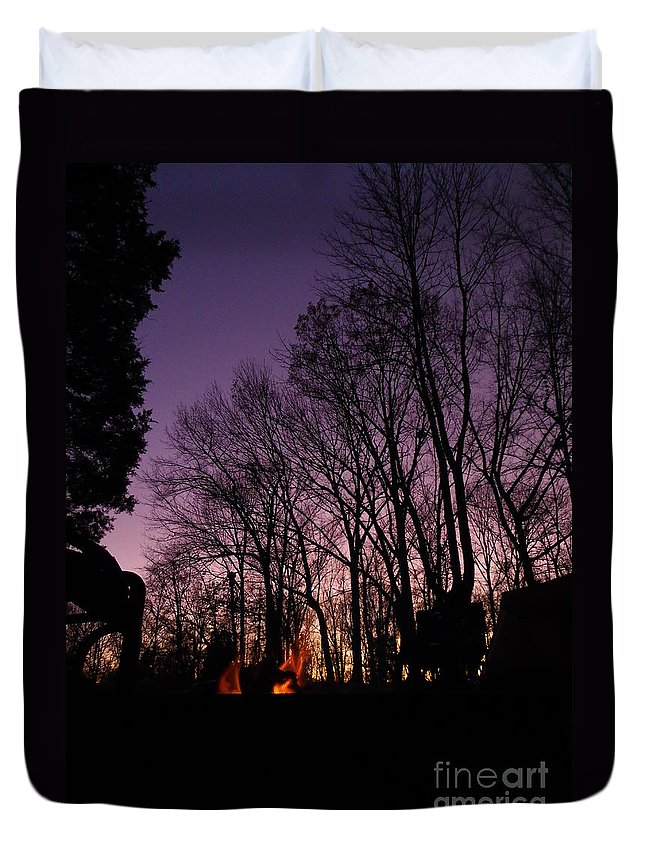 Purple Duvet Cover featuring the photograph Camp Fire Sunset by Charleen Treasures