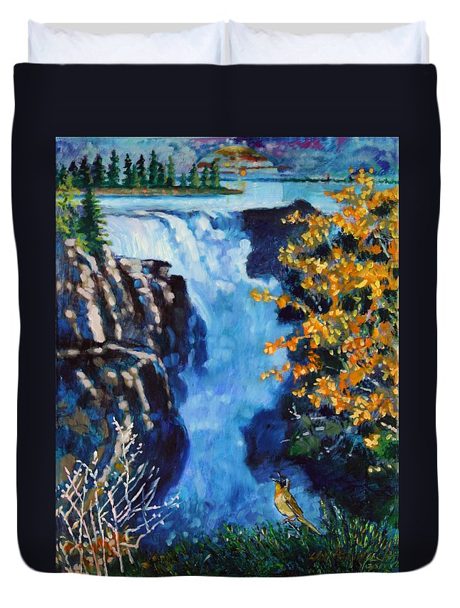 Mountain Waterfall Duvet Cover featuring the painting Can You Hear Me by John Lautermilch