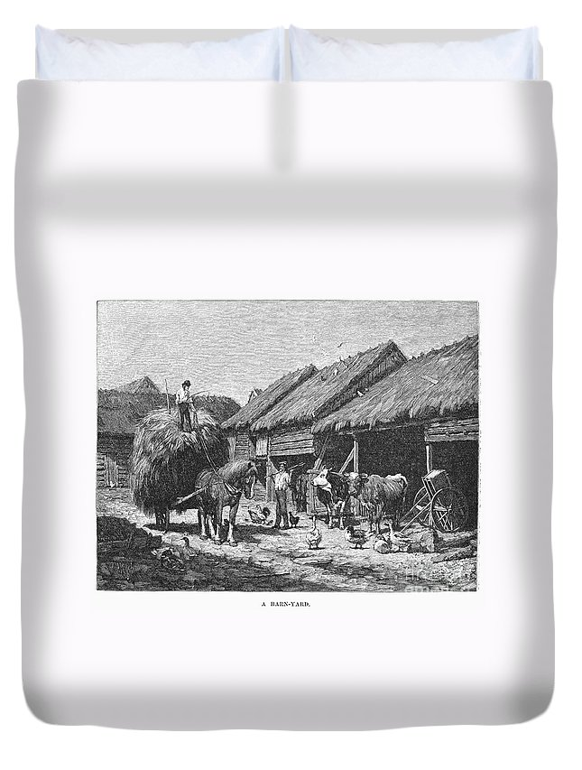 1883 Duvet Cover featuring the photograph Canada: Farming, 1883 by Granger