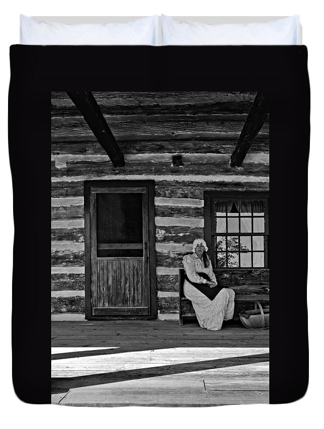 Grey Roots Museum & Archives Duvet Cover featuring the photograph Canadian Gothic Monochrome by Steve Harrington