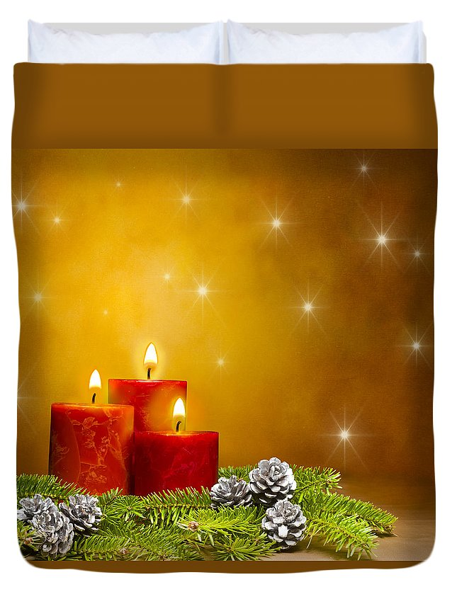 Fir Cone Duvet Cover featuring the photograph Candles Decorated Branches Of A Pine Tree And Fir Cones by U Schade