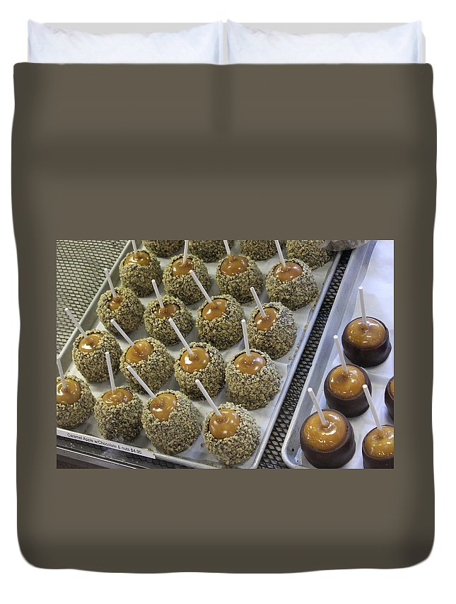 Fruit Photographs Duvet Cover featuring the photograph Candy Apples by Bill Owen