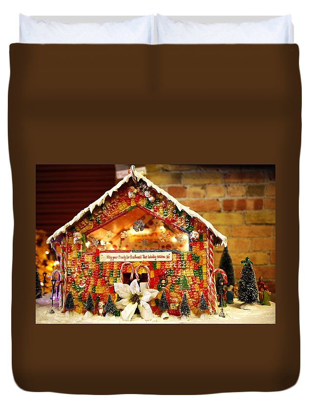 Candy Duvet Cover featuring the photograph Candy Gingerbread House by Marilyn Hunt