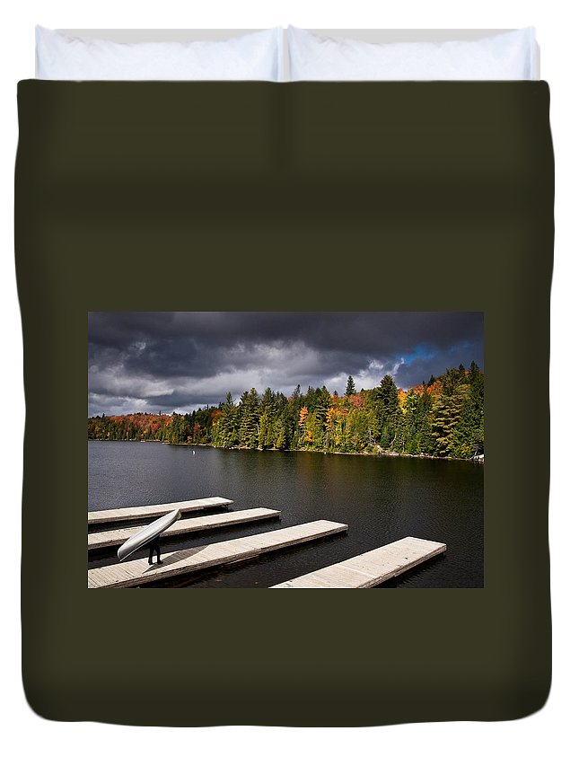 Canoe Duvet Cover featuring the photograph Canoe Lake by Cale Best